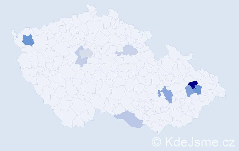Příjmení: 'Báleš', počet výskytů 17 v celé ČR