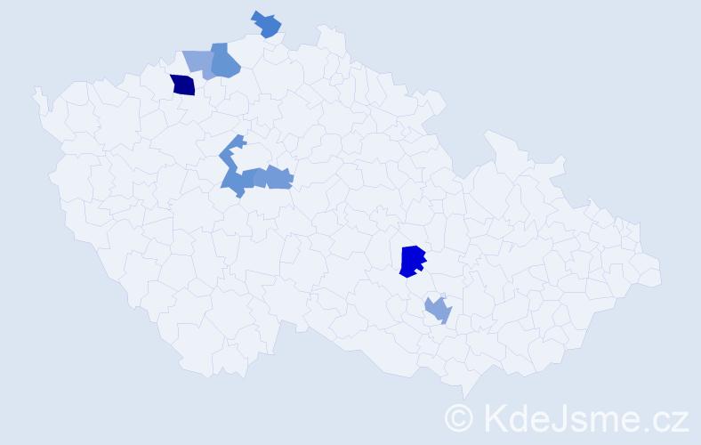 Příjmení: 'Hauschildová', počet výskytů 15 v celé ČR