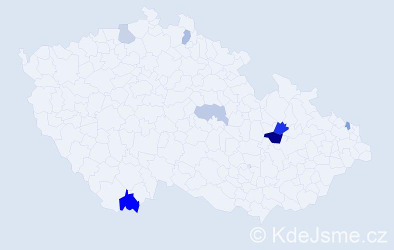 Příjmení: 'Kertés', počet výskytů 11 v celé ČR