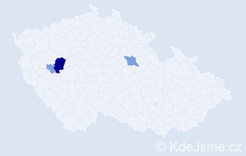 Příjmení: 'Brůj', počet výskytů 16 v celé ČR