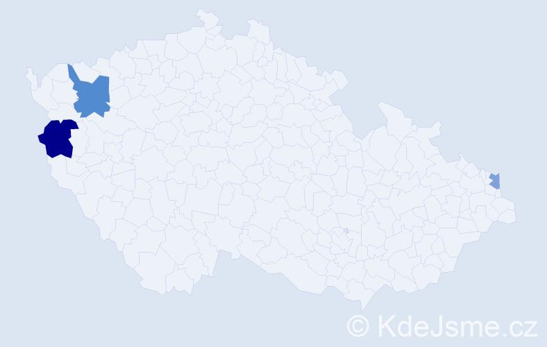 Příjmení: 'Ďugel', počet výskytů 5 v celé ČR