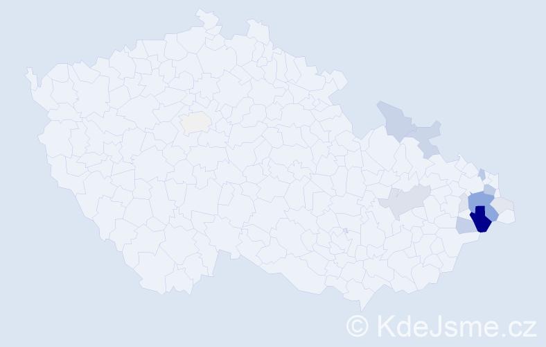 Příjmení: 'Jurok', počet výskytů 44 v celé ČR