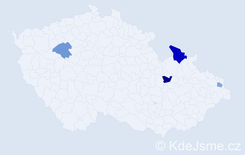 Příjmení: 'Čičak', počet výskytů 5 v celé ČR