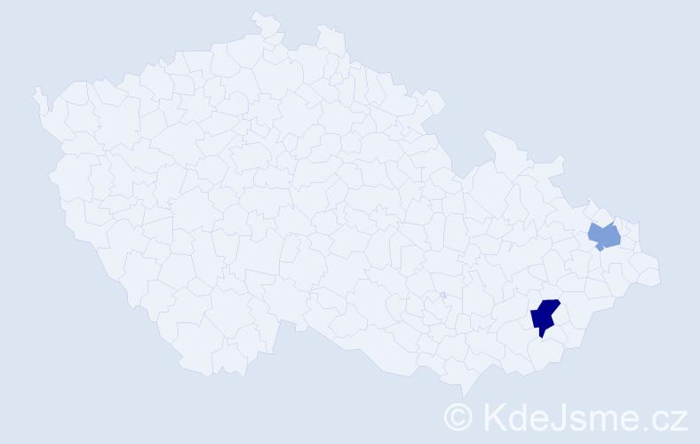 Příjmení: 'Bangievská', počet výskytů 5 v celé ČR