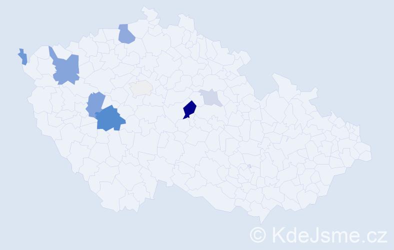 Příjmení: 'Kalčic', počet výskytů 20 v celé ČR