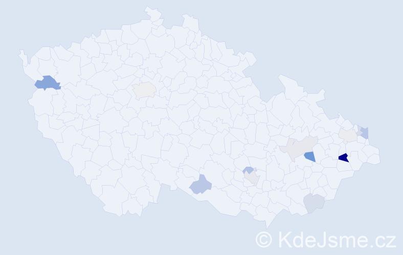 Příjmení: 'Čierniková', počet výskytů 24 v celé ČR