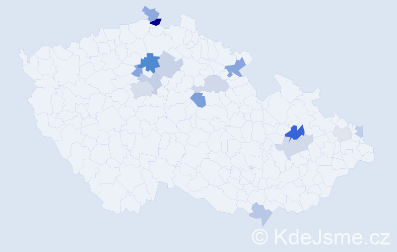 Příjmení: 'Bališ', počet výskytů 25 v celé ČR