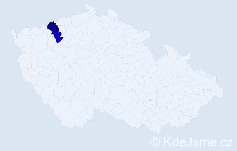 Příjmení: 'Kněžník', počet výskytů 4 v celé ČR