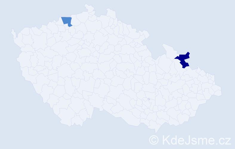 Příjmení: 'Galik', počet výskytů 2 v celé ČR