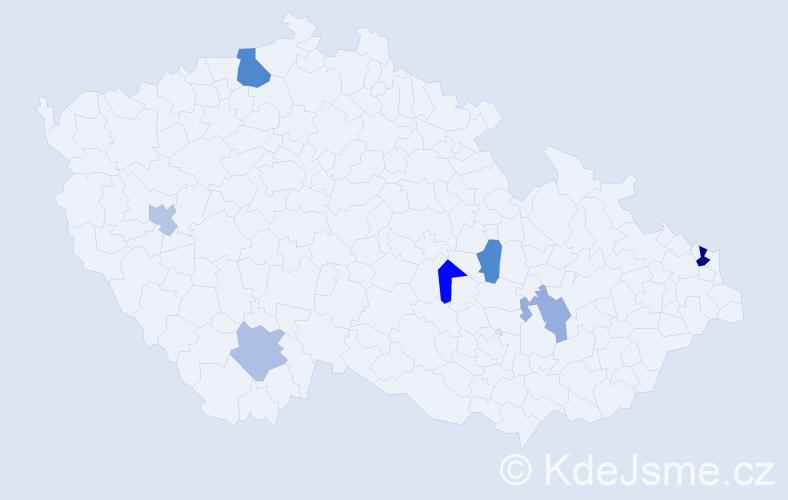Příjmení: 'Knapčok', počet výskytů 11 v celé ČR