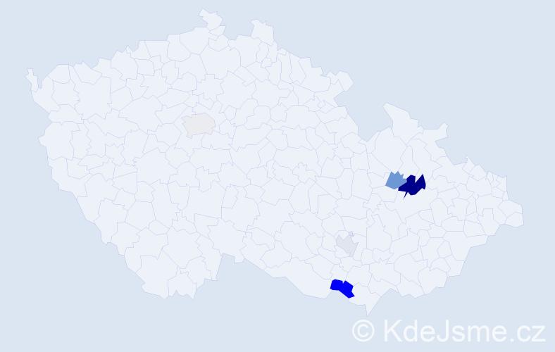 Příjmení: 'Kusmičová', počet výskytů 8 v celé ČR