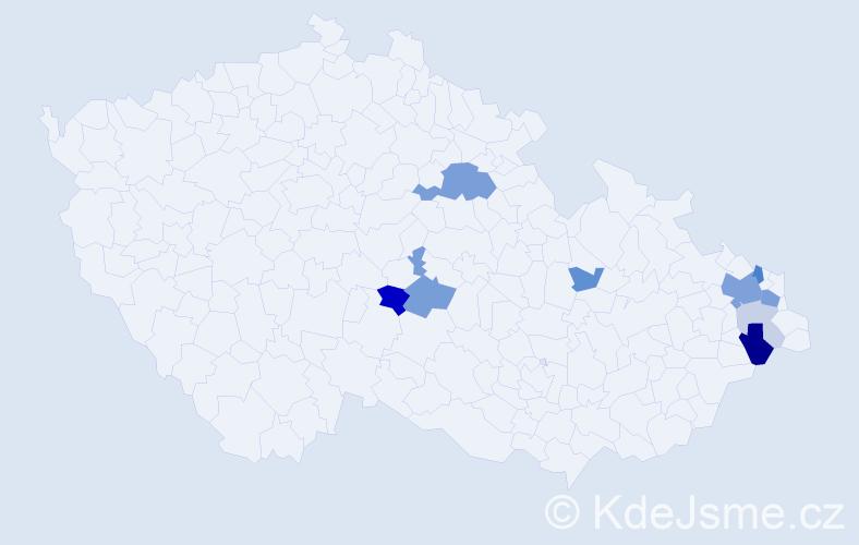 Příjmení: 'Halagačková', počet výskytů 25 v celé ČR