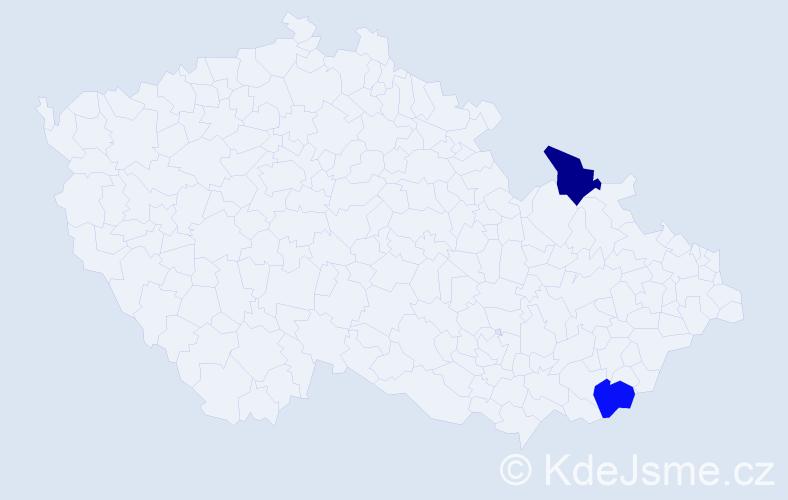 Příjmení: 'Hájniková', počet výskytů 2 v celé ČR