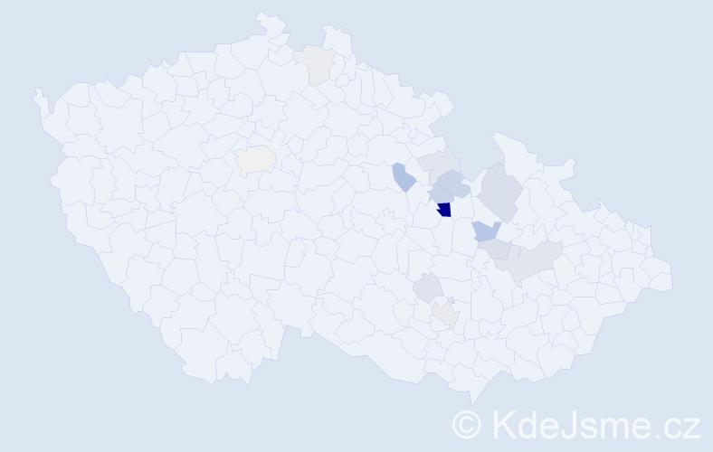 Příjmení: 'Klacl', počet výskytů 40 v celé ČR