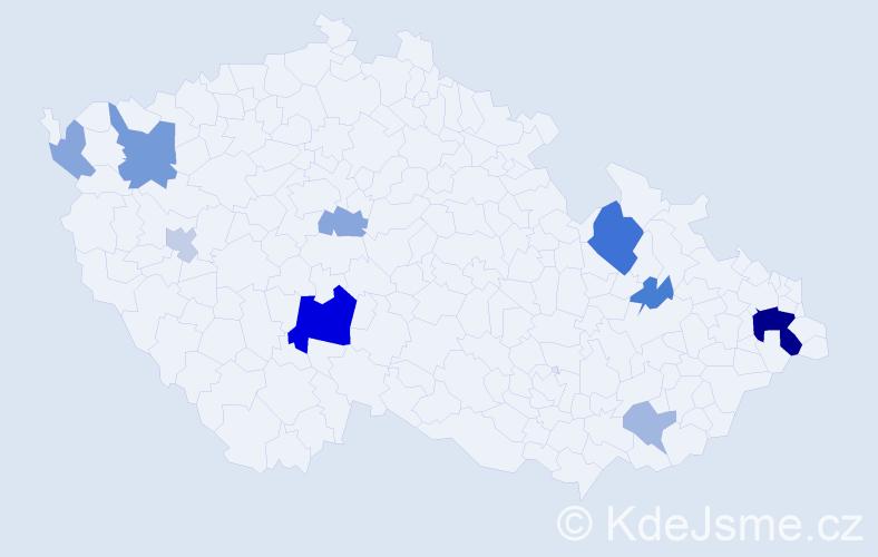 Příjmení: 'Ermanová', počet výskytů 22 v celé ČR