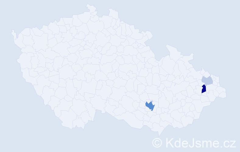 Příjmení: 'Jurdanov', počet výskytů 8 v celé ČR