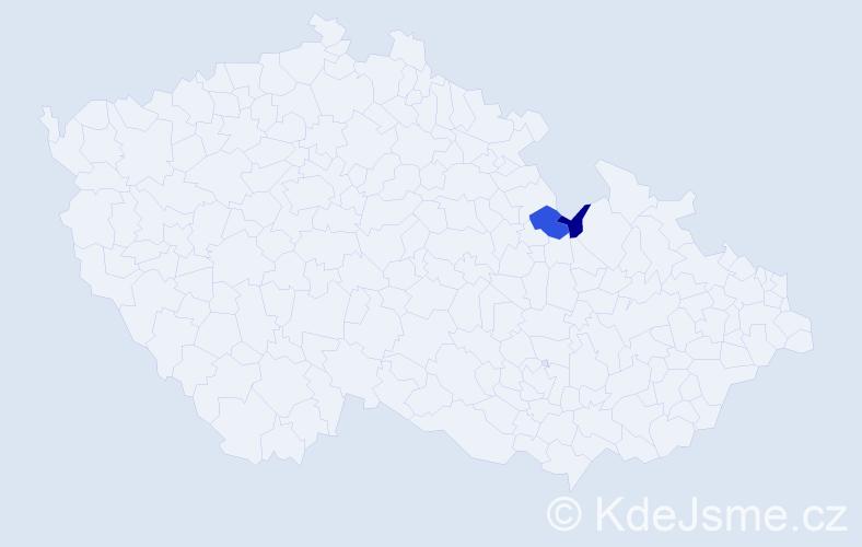 Příjmení: 'Kočajda', počet výskytů 3 v celé ČR