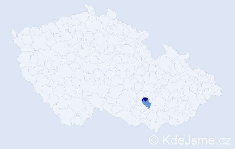 Příjmení: 'Czanderle', počet výskytů 5 v celé ČR