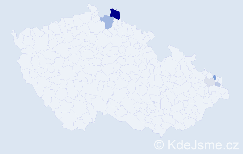 Příjmení: 'Hmirová', počet výskytů 8 v celé ČR
