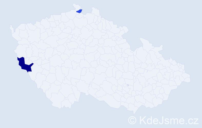 Příjmení: 'Kavuleková', počet výskytů 4 v celé ČR