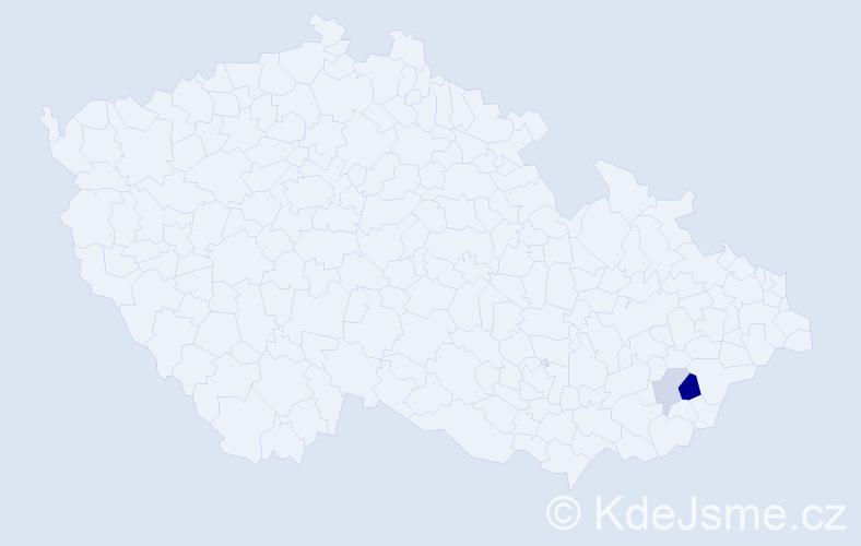 Příjmení: 'Bořutíková', počet výskytů 4 v celé ČR