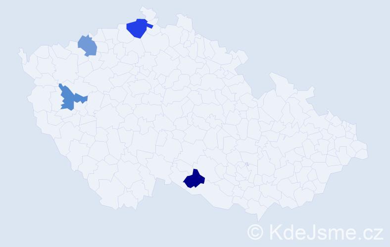 Příjmení: 'Ameti', počet výskytů 5 v celé ČR