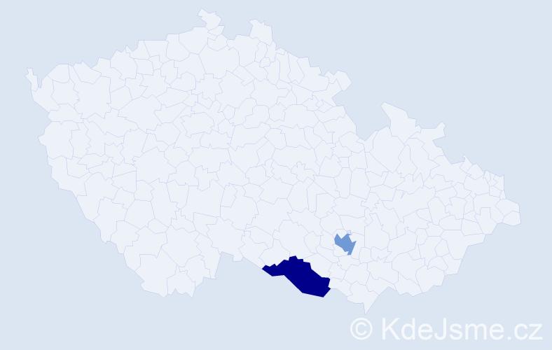 Příjmení: 'Čiríková', počet výskytů 2 v celé ČR