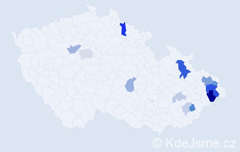 Příjmení: 'Čadanová', počet výskytů 37 v celé ČR