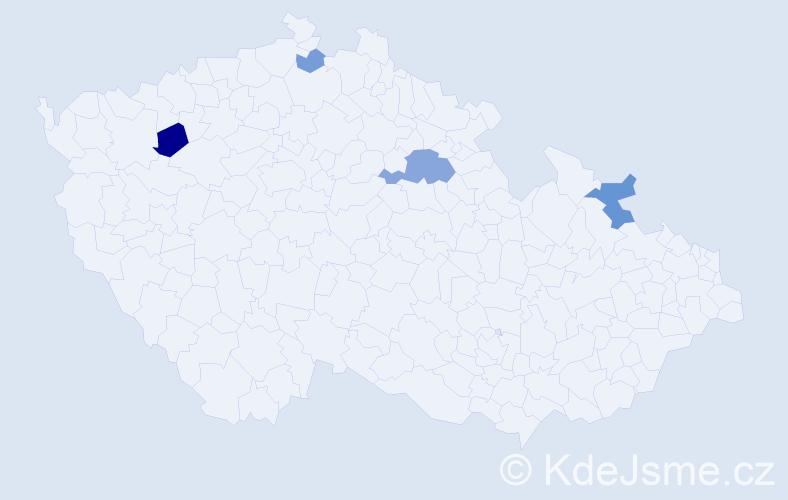 Příjmení: 'Čičmanová', počet výskytů 8 v celé ČR
