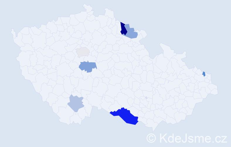 Příjmení: 'Lefnarová', počet výskytů 11 v celé ČR