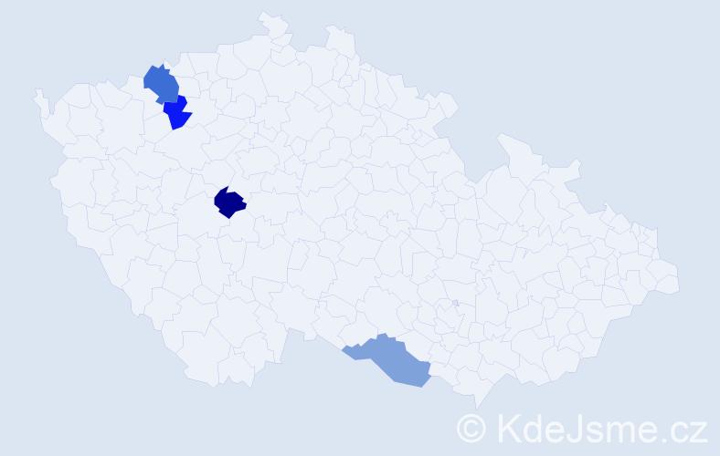 Příjmení: 'Kunagl', počet výskytů 5 v celé ČR