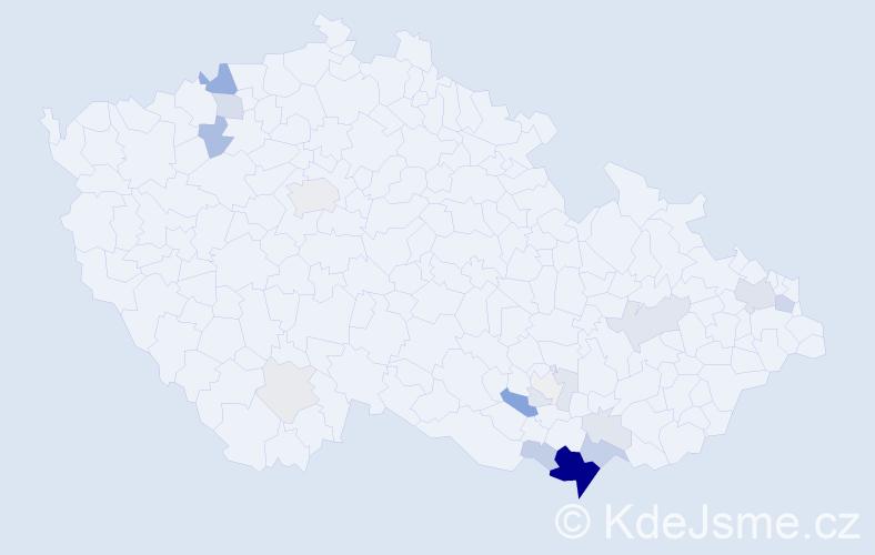Příjmení: 'Hakala', počet výskytů 63 v celé ČR