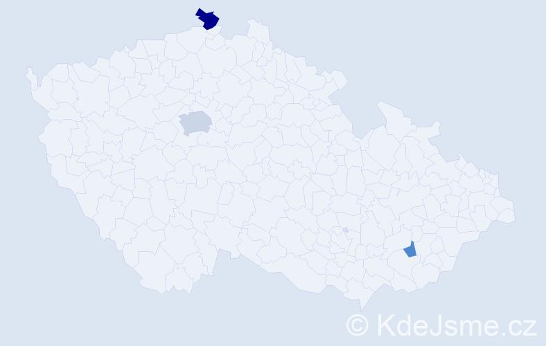 Příjmení: 'Abbott', počet výskytů 6 v celé ČR