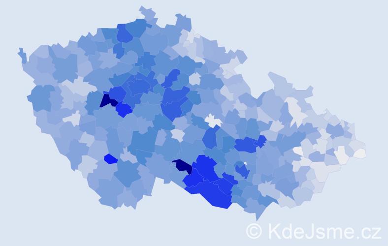 Příjmení: 'Veselý', počet výskytů 12942 v celé ČR