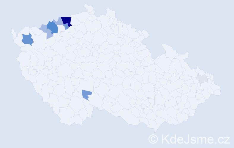 Příjmení: 'Ádiová', počet výskytů 27 v celé ČR