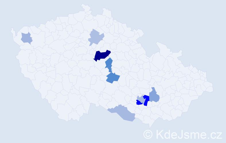 Příjmení: 'Katrnošková', počet výskytů 20 v celé ČR