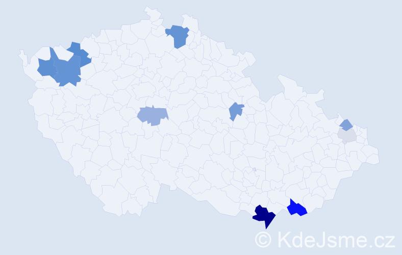 Příjmení: 'Áč', počet výskytů 25 v celé ČR