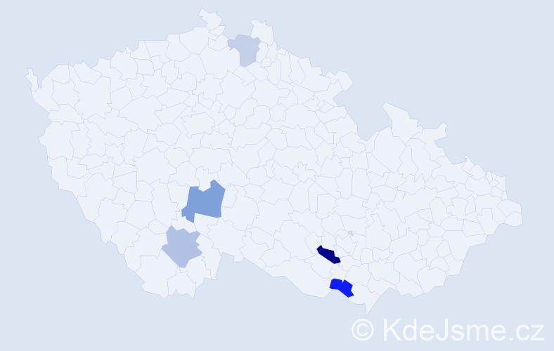 Příjmení: 'Komarovová', počet výskytů 17 v celé ČR