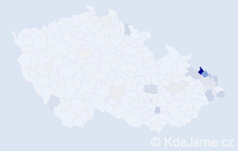 Příjmení: 'Kolarčík', počet výskytů 88 v celé ČR