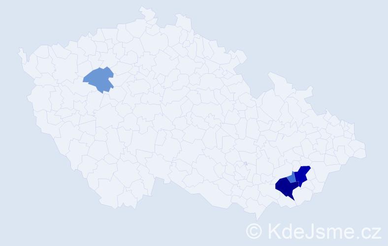 Příjmení: 'Cablík', počet výskytů 10 v celé ČR