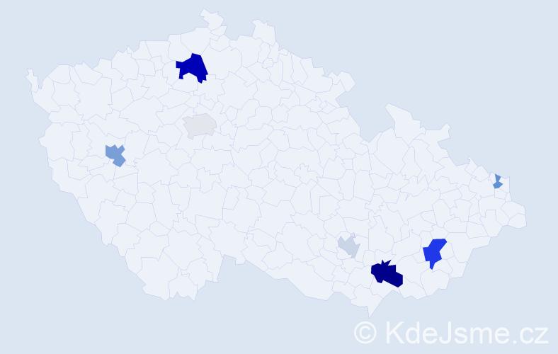 Příjmení: 'Ebringerová', počet výskytů 14 v celé ČR