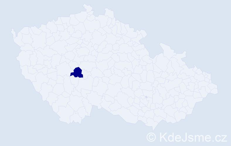 """Příjmení: '""""Habartová Váňová""""', počet výskytů 1 v celé ČR"""