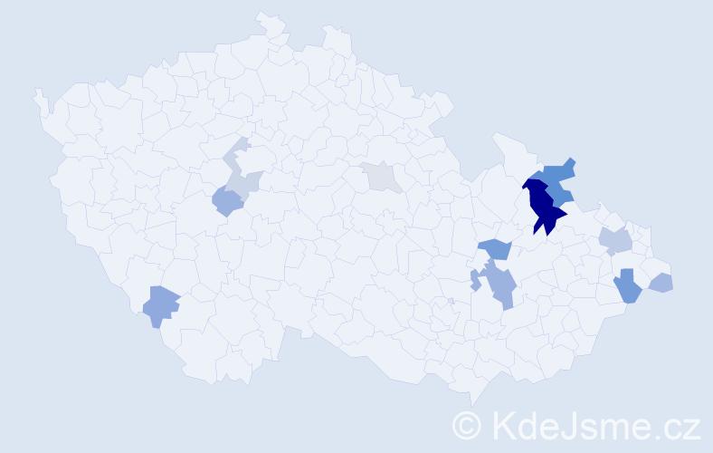 Příjmení: 'Chovančáková', počet výskytů 36 v celé ČR