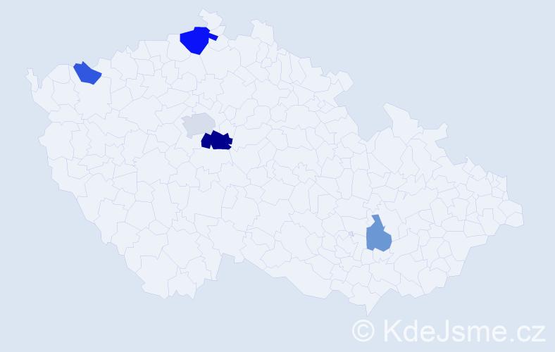 Příjmení: 'Hanzalius', počet výskytů 10 v celé ČR