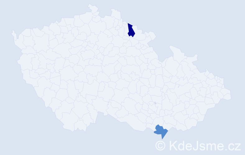 Příjmení: 'Hajiček', počet výskytů 2 v celé ČR