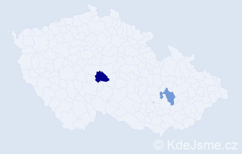 Příjmení: 'Kachramanová', počet výskytů 6 v celé ČR