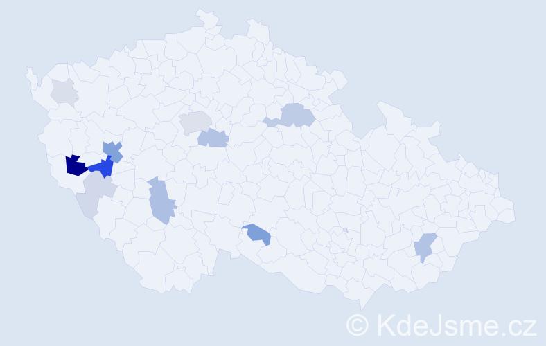 Příjmení: 'Boucová', počet výskytů 38 v celé ČR