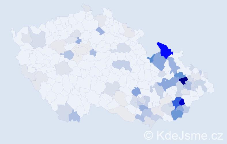 Příjmení: 'Chromek', počet výskytů 276 v celé ČR