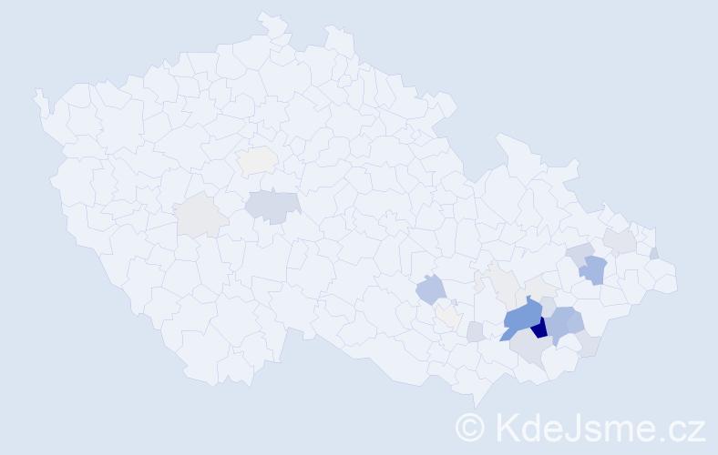 Příjmení: 'Gabrhelíková', počet výskytů 96 v celé ČR