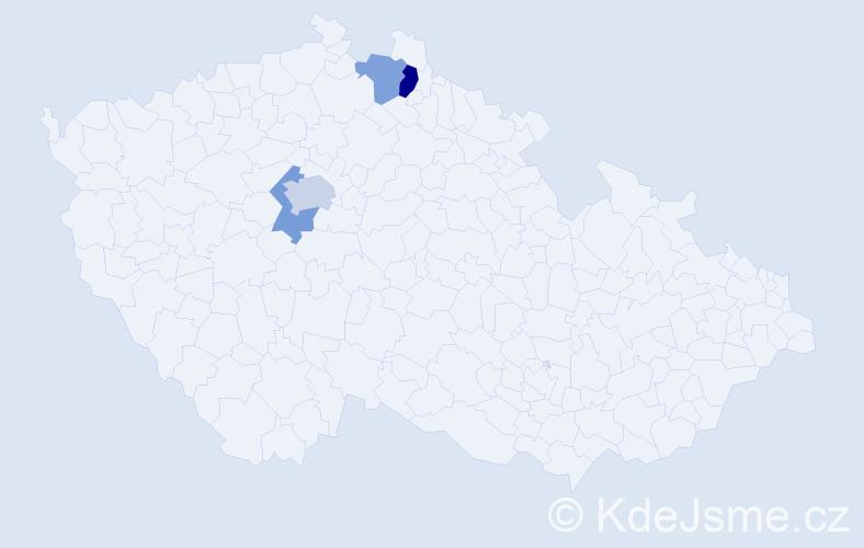 Příjmení: 'Čihoská', počet výskytů 6 v celé ČR